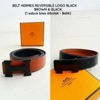 BELT / SABUK HERMES REVERSIBLE BUCKLE BLACK SUPER QUALITY