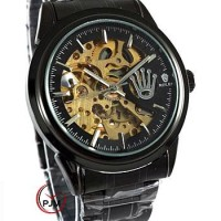 Rolex Skeleton Rantai Black Elegant Simple