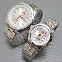 Jam Tangan Couple - Swiss Army Couple Luxury SilverWhite