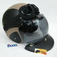 helm retro sintetis SNI hitam krem+ bogo import+ google lokal+ topi