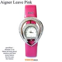 Jam Tangan Wanita Kulit Glossy Agner Leave Full Set Pink