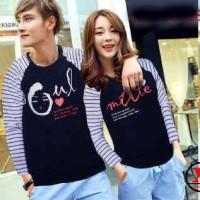 Baju Couple Lengan Panjang / Kaos pasangan Soulamte Biru 10015A