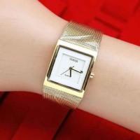 Grosir Jam Tangan Wanita / Cewek Guess Segi Gold Plat Putih
