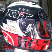 Helm KYT RC Seven RC7 7 Full Face Motif Fullface Putih Orange