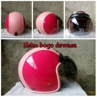 Helm Bogo Retro Semi Kulit GIX Pink SNI + Kaca Bogo Ori