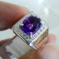 Cincin kecubung ungu kalimantan 054 ring perak suasa