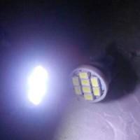 Bohlam Senja / Lampu Dasboard / Plat Nomor T10 LED PUTIH BUNTUNG (Net)