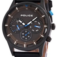 Police Jam Tangan Pria Casual - Hitam Tali Kulit-Pl14383jsb/16