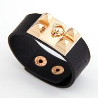 Black Square Rivet Leather Bracelet