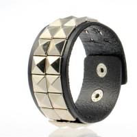 Black Square Rivet Punk Bracelet