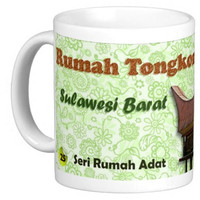 Mug Keramik seni budaya Indonesia, Rumah Adat Tongkonan (3P312501)