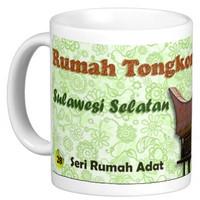 Mug Keramik seni budaya Indonesia, Rumah adat Tongkonan (3P312801)