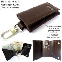 Dompet Stnk dan Gantungan Kunci Kulit Guci Soft Coklat