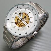 Jam Tangan Pria / Cowok Bvlgari Skeleton Strip Rantai Silver White