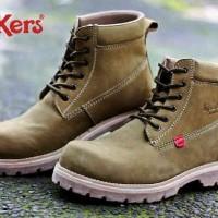 Sepatu Boot Safety Pria Kickers Pitbuck Green Army