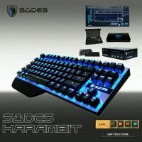 Sades Karambit TKL Mechanical Keyboard - Red Switch Blue LED