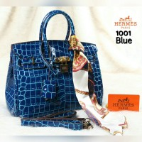 Tas Hermes Birkin Crocodile Glossy With Twilly 1001# Semi Premium