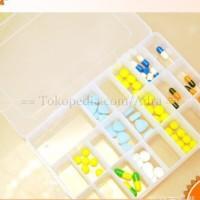 Storage Box 24 Grid Jewelry Medicine Clay Organizer Kotak Penyimpanan