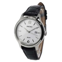 Seiko SUR791P1 - Ladies Date, Stainless Steel Case, Leather Strap