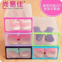 Shoebox Side Pul Crystal Thick Transparent Plastic, Box Kotak Penyimpan