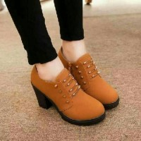 SEPATU SNEAKERS ANKLE BOOTS KETS CASUAL BOOTS HIGHHEELS TAN BLI01