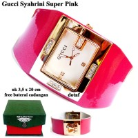 Jam Tangan Wanita Kulit Impor Guucci Syahrini Pink Full Set