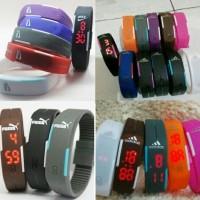 Gelang Jam Tangan LED Karet Sporty / Rubber Watch Nike Puma Adidas