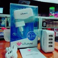 Adapter Charger Merk Vivan 4 Output (Adaptor Casan, Batok, Kepala)