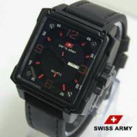 Swiss Army Kotak Kulit Hitam (Merah)
