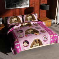 Jual Sprei Masha and Bear Pink Murah