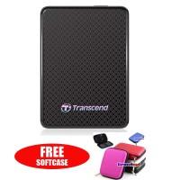 Transcend External SSD ESD400 256GB Portable USB 3.0 - Hitam + Gratis