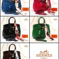 Hermes Birkin Crocodile Glossy With Twilly (1001)