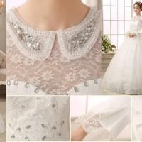 Jual gaun import wedding pengantin muslimah lengan panjang modern Murah