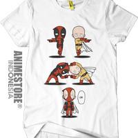 Baju Kaos Anime One PUNCH Man Saitama Deadpool SaiPool Putih