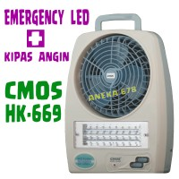 CMOS HK669 Emergency Lamp With Fan Rechargeable LAMPU DARURAT + KIPAS ANGIN