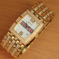 Jam Tangan Wanita Premium Gucci Segi Ring Diamond Gold
