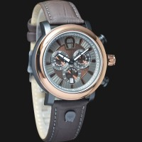 Aigner Bari Chrono A37520 Brown Leather Strap Brown Silver Dial
