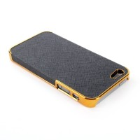 Luxury Black Gold Plated Frame Cross Pattern HARD CASE FOR iPhone 5 5s