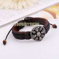 JWLB0103 Gelang Kulit Tengkorak Pria (Skull Punk Leather Bracelet)