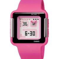 jam tangan casio lcf20-4 wanita poptone pink karet analog digital ori