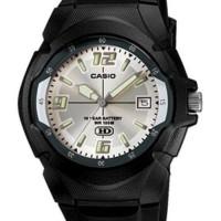 Jam Tangan Casio Mw600f-7 Pria Unisex Layar Putih Silver Analog Simple