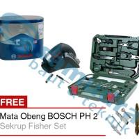 Bosch 108 In 1 Tool Kit + BOSCH IXO 3 Mesin Bor Obeng tanpa Kabel