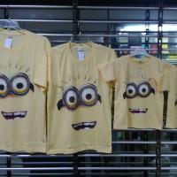 Jual baju kaos pasangan keluarga couple family anak2 mama papa motif minion Murah