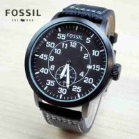 jam tangan pria / cowok FOSSIL chrono detik kulit hitam