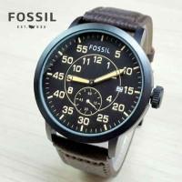 Jam Tangan Pria / Cowok FOSSIL Chrono Detik Kulit Coklat Tua