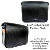 tas pria kulit casual selempang poloo shield hitam medium