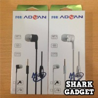 Handsfree ADVAN Mega Bass + Mic (Headset / Earphone / Headphone)