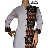 BL329 Blouse Batik hitam Putih Kemeja Atasan Wanita Kombinasi Songket