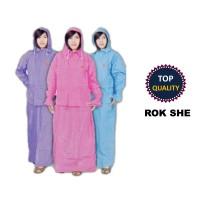 Jual Jas hujan jaket rok wanita she murah pink biru Murah