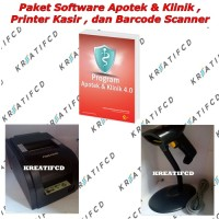 Paket Software Apotek & Klinik, Printer Kasir dan Barcode Scanner
